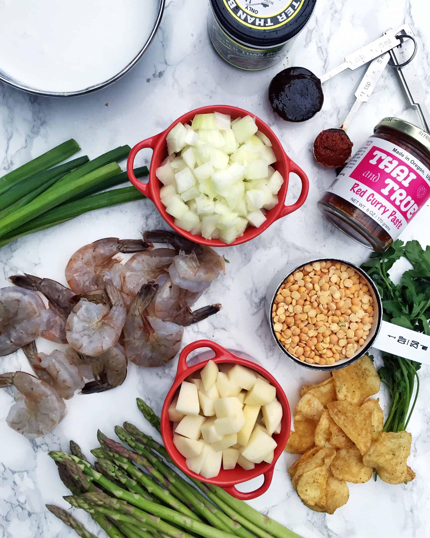 Curried Asparagus & Lentil Soup with Shrimp & Curry Potato Chips
