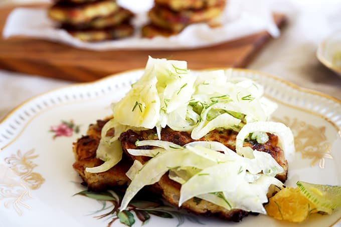 BACON & POTATO LATKES WITH FRESH FENNEL & CITRUS SLAW