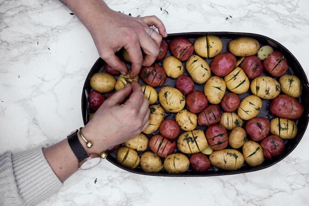 mini hasselback potatoes with mustard sauce