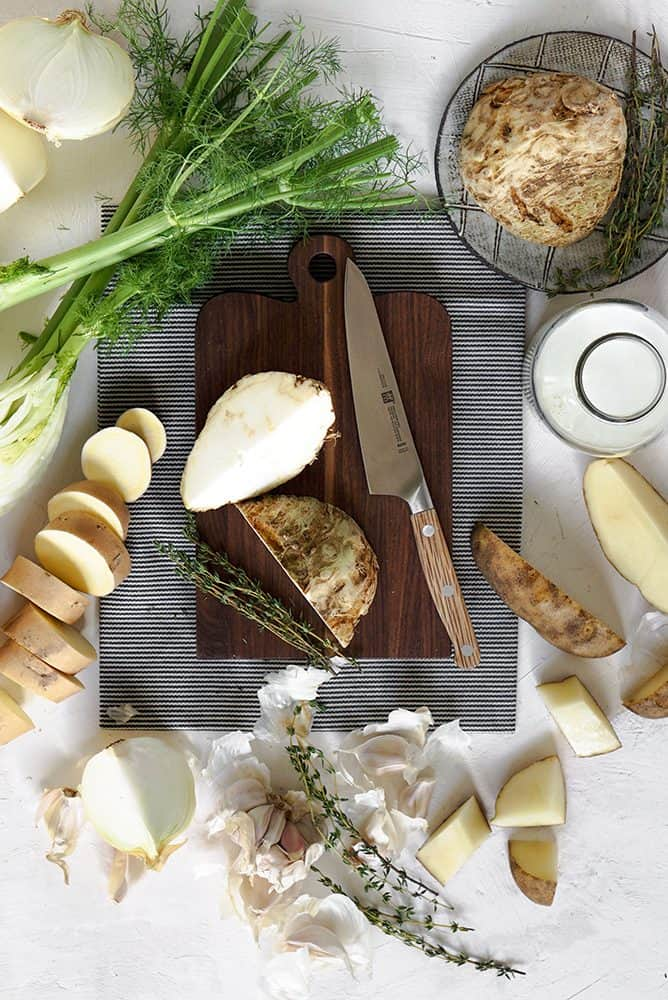 ingredients for celeriac soup