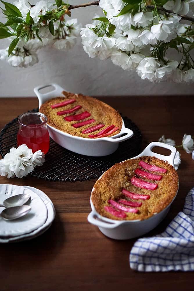 GLUTEN FREE POLENTA & RHUBARB CAKE