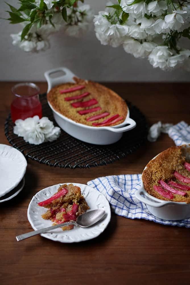 Gluten Free Rhubarb Polenta Cake