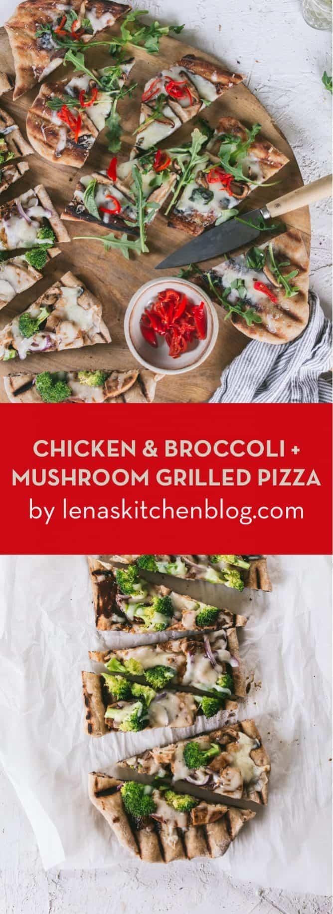 CHICKEN & BROCCOLI + MUSHROOM GRILLED PIZZA