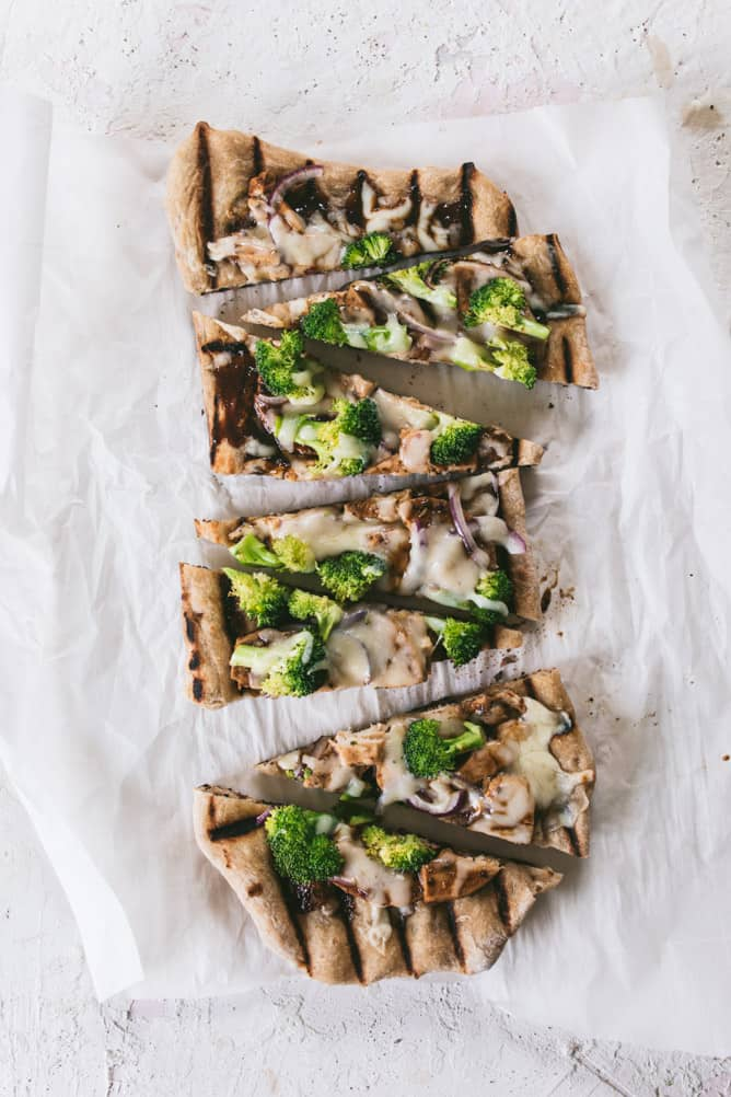 CHICKEN & BROCCOLI grilled pizza
