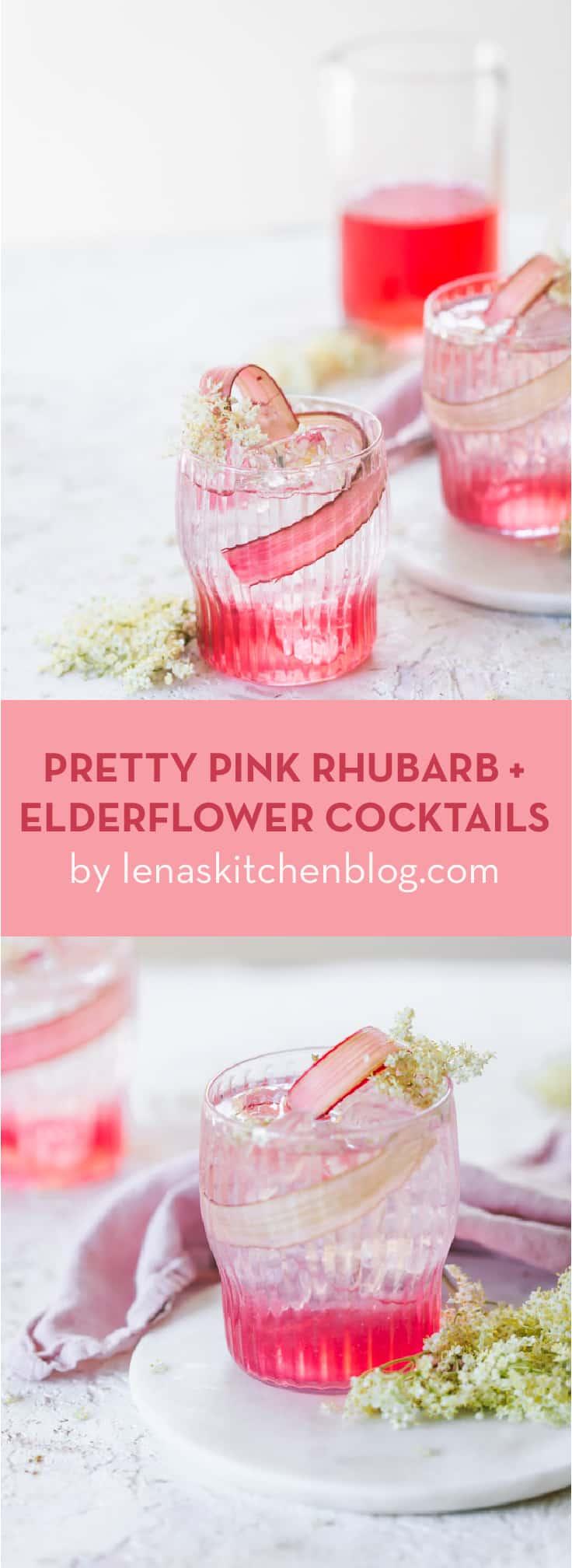 SUMMER COCKTAIL, PINK RHUBARB + ELDERFLOWER COCKTAILS