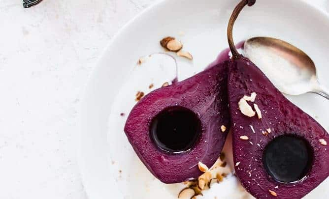 RED WINE POACHED PEARS WITH VANILLA