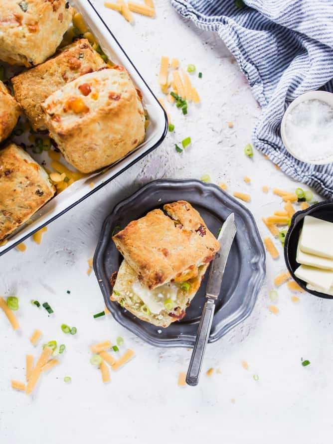 Flaky, buttery, crispy on the outside and fluffy on the inside packed with CHEDDAR, HERB AND BACON BISCUITS. The perfect start to any morning.