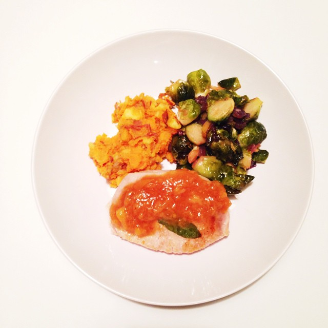 Final plating of our dinner tonight. Pork chops with sage and a peach/fig vinegar sauce and a side of roasted brussel sprouts with red onion and garlic cloves and roasted yams smashed with olive oil and sea salt and smoked paprika. This was great. Thanks babe @gladstone74 for coming to enjoy this with us tonight. #whole30 #whole30food #whole30dinner #lenaskitchen #lenaskitchenblog #lenaskitchenblogwhole30 #dinner