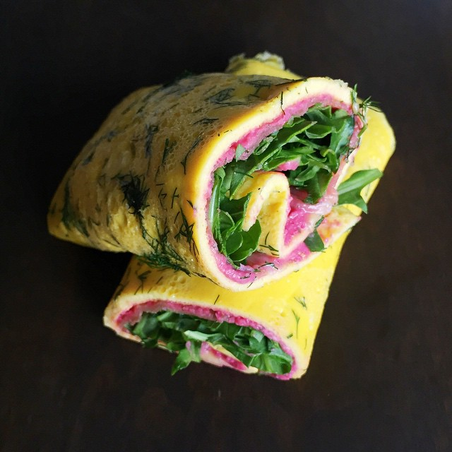 My breakfast was very colorful today. I made a tasty dill omelette rolled up with beet hummus, prosciutto and arugula. Simple and very flavorful. #lenaskitchen #lenaskitchenblog #breakfast #dill #omelette #homemade #beet #hummus #prosciutto #arugula #food #foodporn #foodart #colorful #chef #cheflife #f52grams #foodstagram #eeeeeats #eatwell #truecooks #homechef #eggporn